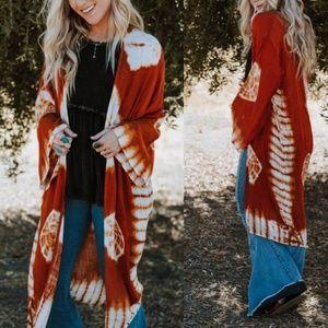 Janis Rust Tie-Dye Kimono Cardigan